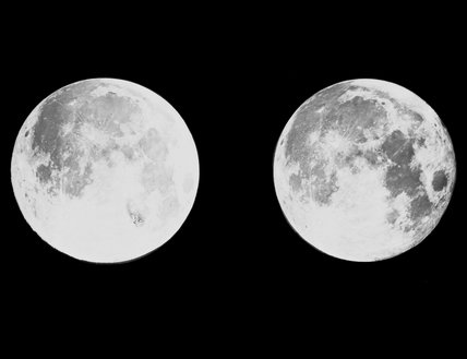 2 photographs of the moon