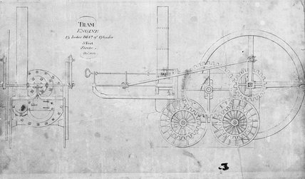 Trevithick's steam locomotive, December 1803.