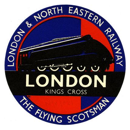 Flying Scotsman, Circular Luggage Label, London