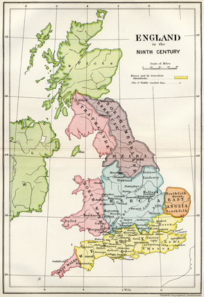 Map of England in the Ninth Century from A Short History of the English People by John Richard Green published by Macmillan and Co 1911