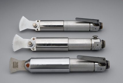 Three prototype versions of the Dobbie bone saw for use in hip replacement, 1966-7, engraved X2 AKD 1966.