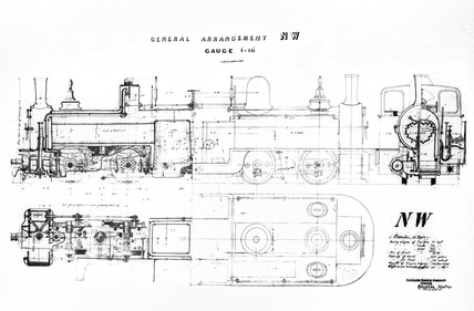 General arrangement drawing of a Festiniog Railway double Fairlie-type locomotive.