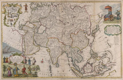 Map of Asia, with vignettes of inhabitants in native costume, 1714