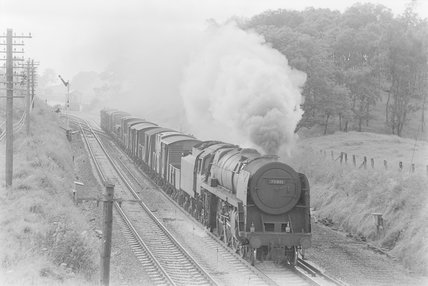 A steam locomotive hauling a goods train, passing a siding,A1969.70/Box 5/Neg 1235/29