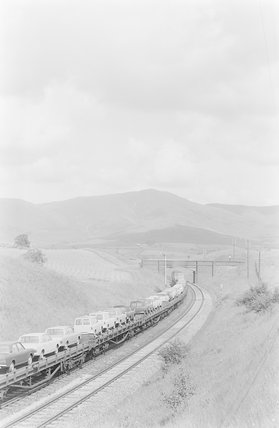 A diesel locomotive hauling a goods train loaded with motor cars,A1969.70/Box 5/Neg 1236/26