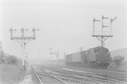 A steam locomotive hauling a goods train,A1969.70/Box 5/Neg 1239/25