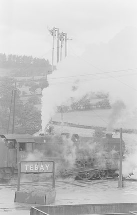 A steam locomotive at a platform,A1969.70/Box 5/Neg 1242/6