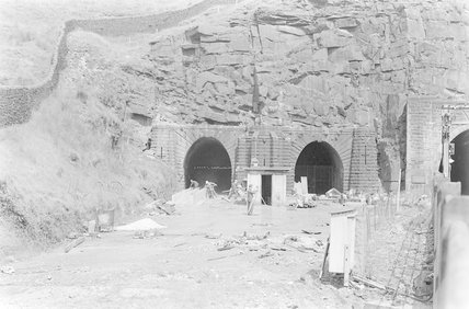 Photographic negative taken by John Clarke of construction work at disused tunnel mouths,A1969.70/Box 5/Neg 1245/2