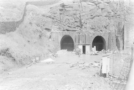 Photographic negative taken by John Clarke of construction work at disused tunnel mouths,A1969.70/Box 5/Neg 1245/3
