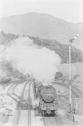 A steam locomotive hauling a goods train, head on view from overbridge,A1969.70/Box 5/Neg 1247/30