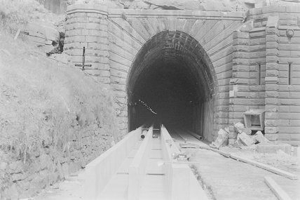Photographic negative taken by John Clarke of construction work at the mouth of a tunnel,A1969.70/Box 5/Neg 1248/6