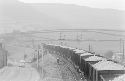 Photographic negative taken by John Clarke of goods wagons carrying limestone,A1969.70/Box 5/Neg 1250/19
