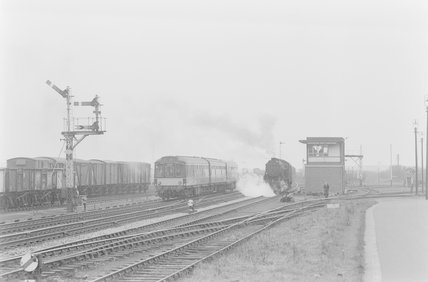 A steam locomotive and a passenger train,A1969.70/Box 5/Neg 1252/2