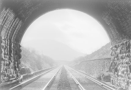 A view of a railway track from inside a tunnel mouth,A1969.70/Box 5/Neg 1254/15