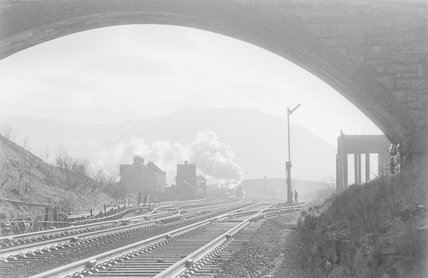 A view of a railway track, sidings and signal box from inside a tunnel mouth,A1969.70/Box 5/Neg 1254/16