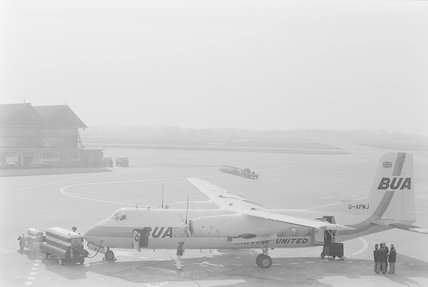 A Fokker Friendship aeroplane on a runway,A1969.70/Box 5/Neg 1256/36