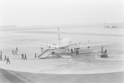 A Vickers Viscount aeroplane on runway,A1969.70/Box 5/Neg 1256/37