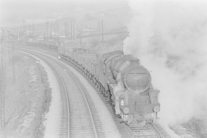A steam locomotive hauling a goods train,A1969.70/Box 5/Neg 1259/7