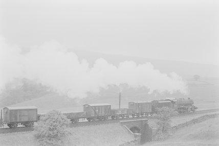 A steam locomotive hauling a goods train, passing over a bridge between fields,A1969.70/Box 5/Neg 1261/5