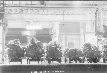 A bags of mail in a station,A1969.70/Box 5/Neg 1262/3