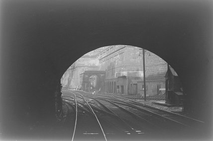 A view from inside a tunnel mouth towards the station,A1969.70/Box 5/Neg 1263/30