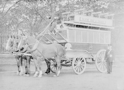 A copy of a photograph of a double decker horse drawn carriage, Palatine Road and Cheadle service. ,A1969.70/Box 5/Neg 1266/9