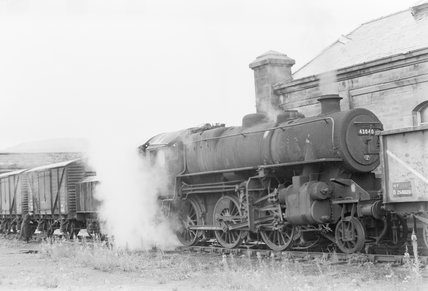A steam locomotive hauling a goods train,A1969.70/Box 5/Neg 1268/8