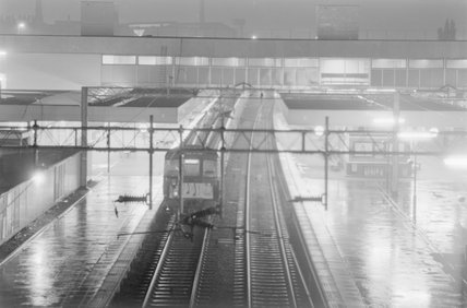 A passenger train in a station, photograph taken at night,A1969.70/Box 5/Neg 1269/22