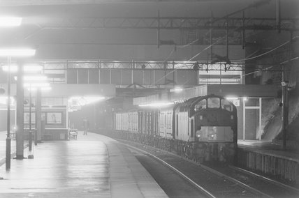A diesel locomotive with a goods train in a station, photograph taken at night . ,A1969.70/Box 5/Neg 1270/34