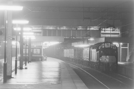 A diesel locomotive with a goods train in a station, photograph taken at night.,A1969.70/Box 5/Neg 1270/35