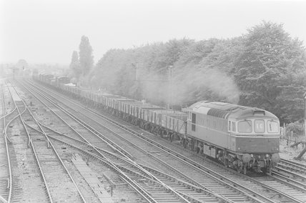 A diesel locomotive hauling goods train 1E passing in front of a wood . ,A1969.70/Box 5/Neg 1276/17