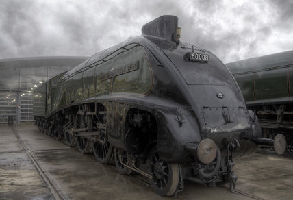 A-4 Class locomotive Dwight D Eisenhower at the Great Gathering/ Great Goodbye  in the National Railway Museum Shildon, 2014.