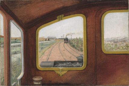 View through the front window of a steam locomotive, 1900s