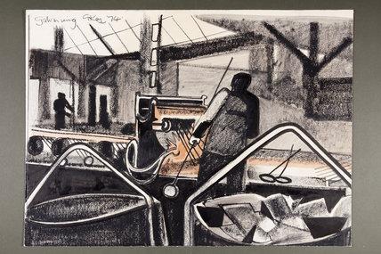 Crayon drawing Galvanizing, 1974