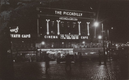 The Piccadilly cinema, Manchester, at night