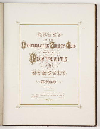 Title page of the 'Rules of the Photographic Society Club', 1856