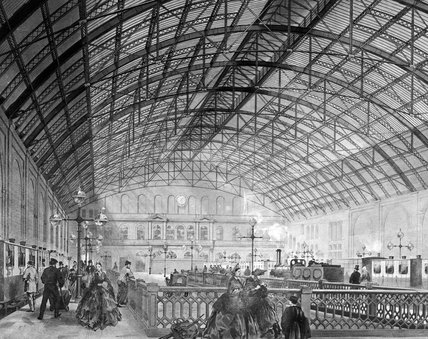 Charing Cross station interior, London, c 1864