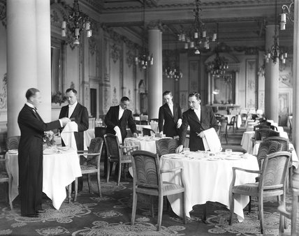 Restaurant in a railway hotel, about 1930