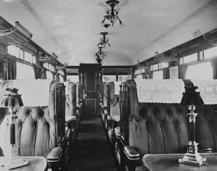 North Eastern Railway first class dining car interior, 1909.