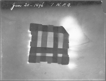 Two small glass-plate x-ray negatives;the first to be made in Sir William Crookes laboratory