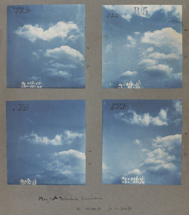 Detached cumulus cloud formations taken at Kew Observatory in 1887.