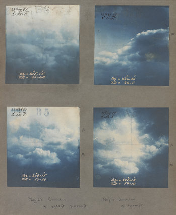 Cumulus cloud formations taken at Kew Observatory in 1887.