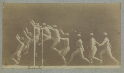 Chronophotograph showing phases of movement of a man jumping a hurdle. c. 1892.