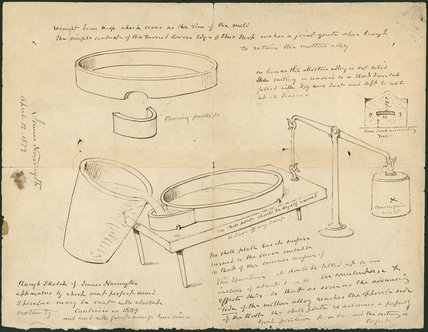 Rough sketch of James Nasmyths' apparatus by which most perfect sound speculae may be cast with absolute certainty.