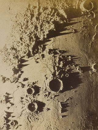 One of 15 assorted photographs of Nasmyth's crater models illuminated at a low angle.