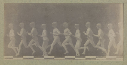 Chronophotograph showing phases of movement of a running man