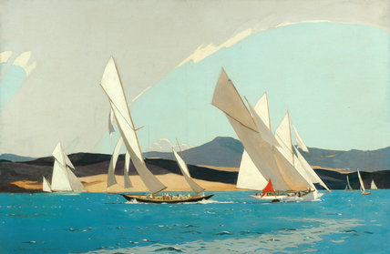 Painting, oil on canvas, yachting scene, by Norman Wilkinson, about 1930
