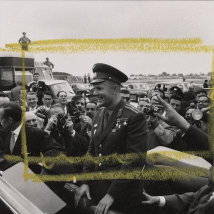Yuri Gagarin (1934-1968) seen in car at London airport, 1961.