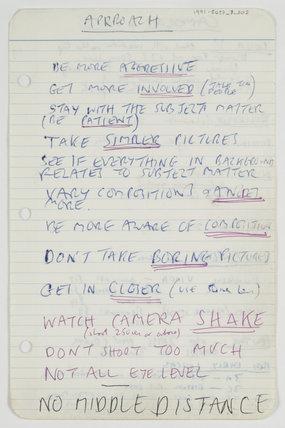 Page from Tony Ray-Jones' notebook