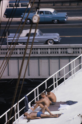 Sunbathers on a bridge, USA